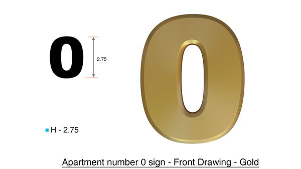 DOB SIGNS: 0 SIGN– GOLD (PLASTIC NUMBERS FOR MAIL BOXES IN NYC ...