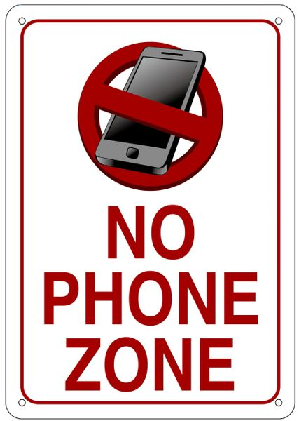 no phone zone sign aluminum signs 10x7