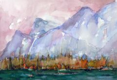 """#151 Might Be Banff, Alberta - 22""""x15"""", Watercolour on paper"""