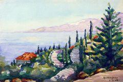 """#209 Côte, Liban - 12""""x8"""", Watercolour on paper"""