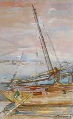 "#137 At The Docks, Kuwait/63 - 13""x21"", Watercolour on paper"
