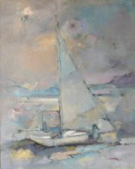 "#014 Sail - 24""x30"", Oil on board"