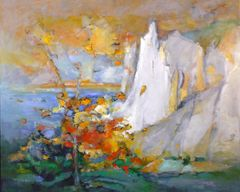 "#002 Scarborough Bluffs, Toronto - 30""x24"" Acrylic on board"