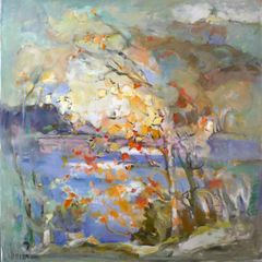 "#143 Bala Shoreline, Ontario - 39""x39"", acrylic on stretched canvas"