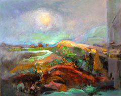"#043 Harvest Moon Through The Lens - 30""x24"", Acrylic on board"