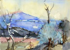 """#253 Blue North, Ontario - 21""""x15"""", watercolour on paper"""