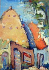 "#223 Village, Syria - 14""x20"", Gouache on paper"
