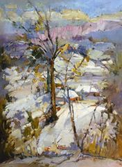 "#026 Almost Winter, Ontario - 22""x30"", Oil on board"