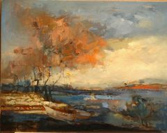 "#084 Bala Evening, Ontario - 20""x16"", Oil on board"