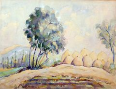"""#161 Village By The Tree, Syria - 17""""x13"""", Watercolour on paper"""