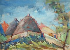 "#188 Village, Syria - 21""x15"", Gouache on paper"