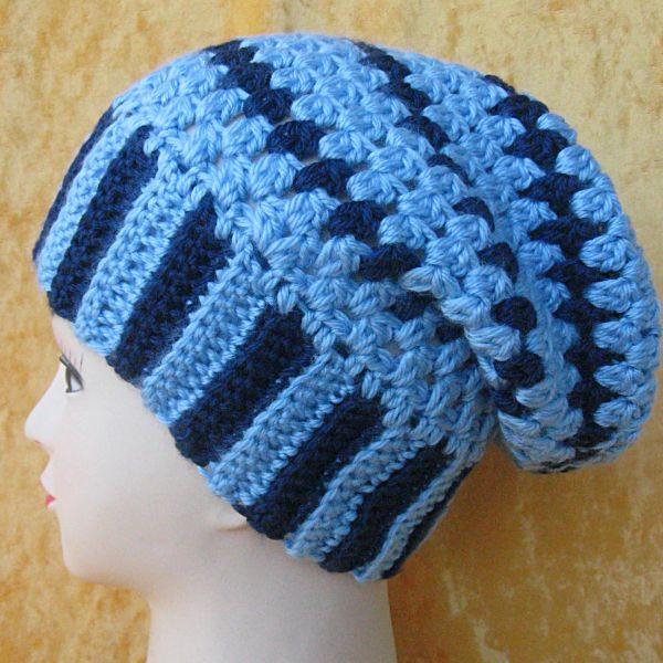 Womenteens Bulky Slouchy Beanie Crocheted In Stripes Of Medium And