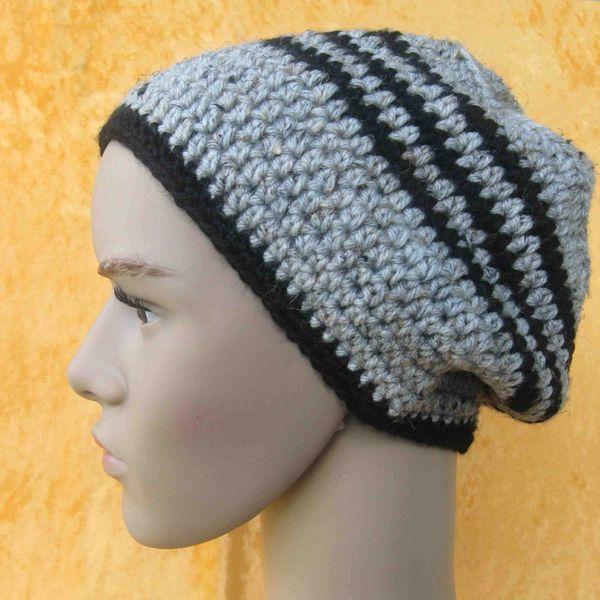 c1e7c40df66 Men Teens Tall Beanie or Mini Slouchy Beanie crocheted in marbled grey and  black acrylic yarn (23.5