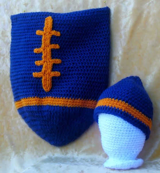 Football Cocoon And Football Beanie Crocheted In Soft Navy Blue And