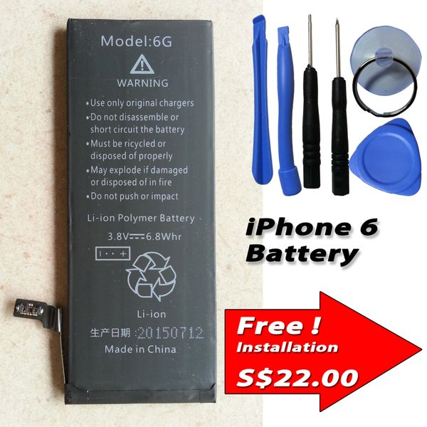 Apple iPhone 6 Internal Battery Capacity: 1800mAh + Tools Kits