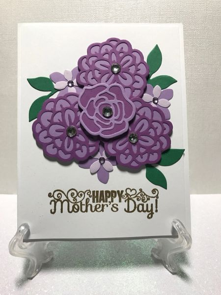 Happy Mothers Day Purple Flower Handmade Cards Greeting Cards