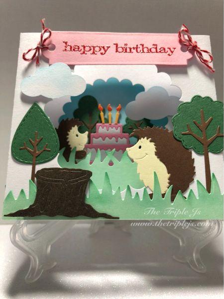 Happy Birthday Box Card Hedgehogs 3d Cake Handmade Cards