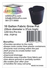 10 Gallon Fabric Grow Pot - lot of fifty (50)