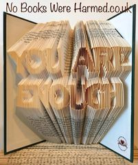 READY TO POST : You are Enough : hand folded book art ♥