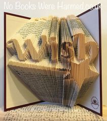 "READY TO POST ""Wish"" with magic wand : : Hand folded, non cut book art"