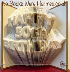 Happy 50th Birthday : : Choose your own numbers : : Hand folded, non cut book art