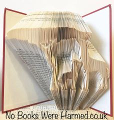READY TO POST Giraffe and baby, grazing on acacia tree ' : : Hand folded, Non cut book art