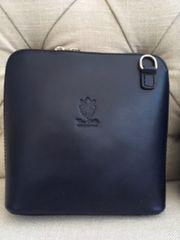 Italian Leather Handbag - Navy Blue