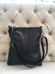 Italian Leather Crossbody Bag - Black L102