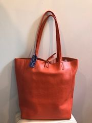 Italian Leather Tote Bag - Burnt Orange