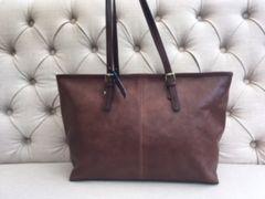 Italian Antique Tan Leather Handbag - L94