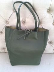 Italian Leather Shopper Olive Green - L116