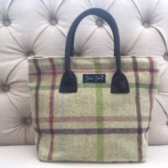 Blu Beri Tweed Handbag Lime Check W18