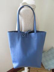 Italian Leather Tote Bag - Denim Blue L37
