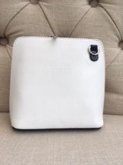 Italian Leather Small Crossbody Bag - White & Navy L124