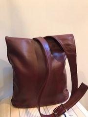 Italian Leather Crossbody Bag - Burgundy