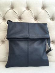 Italian Leather Crossbody Bag - Navy L132