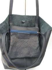 Italian Leather Tote Bag - Navy Blue L36