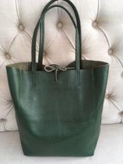 Italian Leather Shopper - Emerald Green