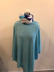 Cashmere Blend Poncho - Duck Egg