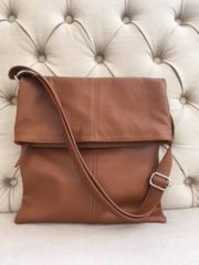 Italian Leather Crossbody Bag - Brown L133