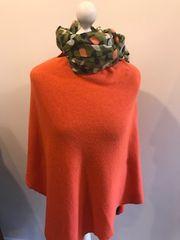 Italian Cashmere Blend Poncho - Burnt Orange