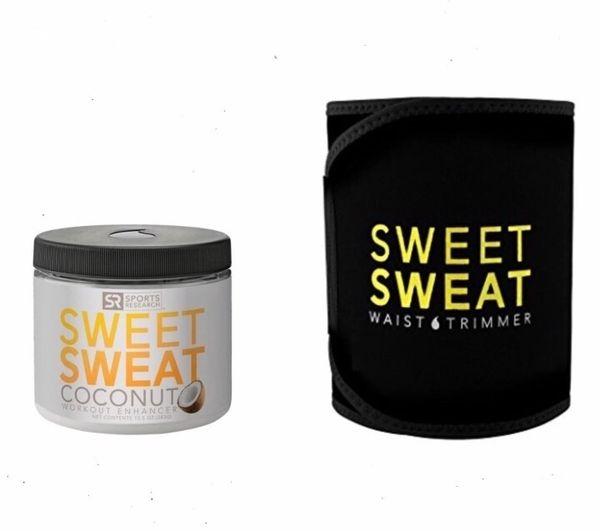 SWEET SWEAT COCONUT (13.5OZ) + SWEET SWEAT PREMIUM WAIST TRIMMER Yellow