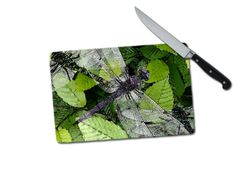 Dragonfly Small Tempered Glass Cutting Board