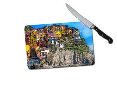 Manarola Italy Hillside Small Tempered Glass Cutting Board