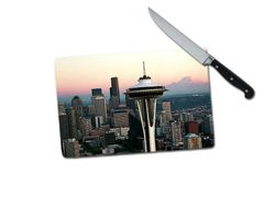 Seattle Skyline Small Tempered Glass Cutting Board