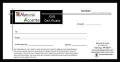 $100 Natural Accents Gift Certificate