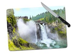 Snoqualmie Falls Washington Large Tempered Glass Cutting Board