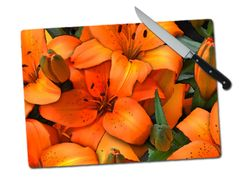 Lillies Large Tempered Glass Cutting Board