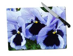 Pansy Large Tempered Glass Cutting Board