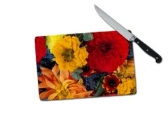 Dahlias Mums Small Tempered Glass Cutting Board